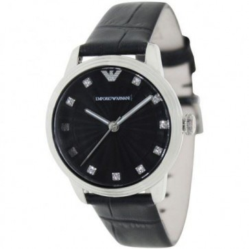 Emporio Armani Ladies Watch Black Leather Strap Black Dial AR1618