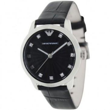 Emporio Armani Ladies Watch Black Leather Strap Black Dial AR1618