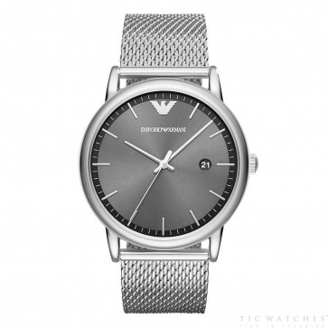 Emporio Armani Mens Gents Watch Silver Stainless Steel Strap Grey Dial AR11069