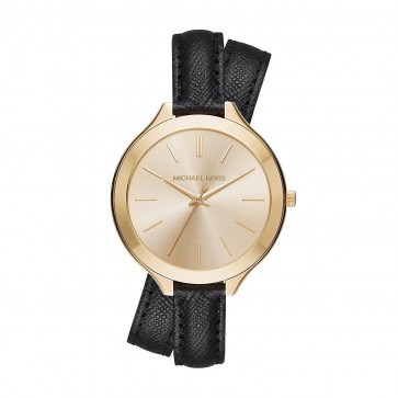 Michael Kors Ladies Slim Runray Watch Gold Plated PVD Case Black Leather Wrap Strap Gold Dial MK2468