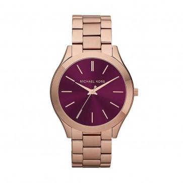 Michael Kors Ladies Slim Runway Wrist Watch Burgundy Dial Gold Strap MK3436