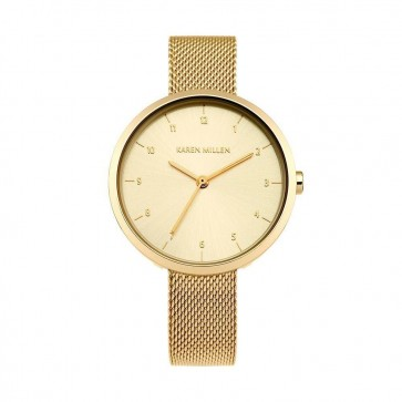 Karen Millen Womens Watch Gold Dial Stainless Steel Bracelet KM135GM