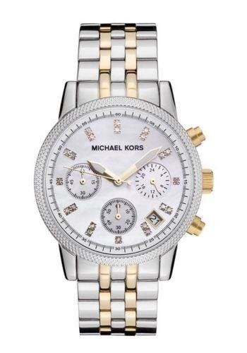 Michael Kors MK5057 Ladies Two Tone Bracelet Ritz Chronograph Watch