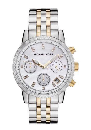Michael Kors MK5057 Ladies Two Tone Bracelet Ritz Chronograph Watch