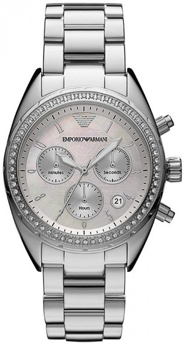 Emporio Armani Ladies Chronograph Watch Stainless Steel Bracelet AR5959