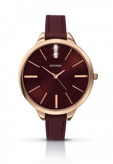 Sekonda Womens Ladies Wrist Watch Red Leather Strap Red Face 2245