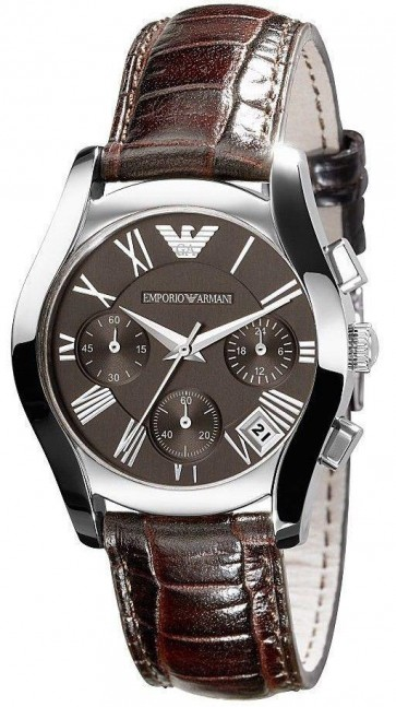 Emporio Armani Ladies Chronograph Watch Brown Strap Brown Dial AR0672