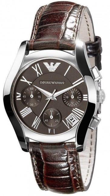 Emporio Armani Ladies Chronograph Watch Brown Strap Brown Dial AR0672