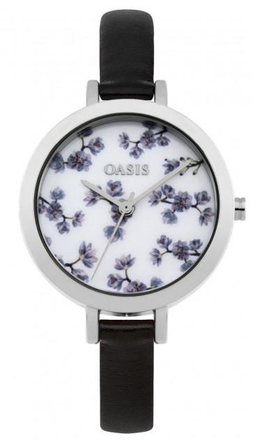 Oasis Womens Ladies Wrist Watch White Face Silver Strap  B1579