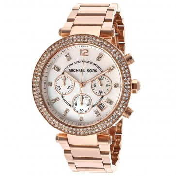 Michael Kors Ladies Parker Chronograph Watch Rose Gold Strap MK5491