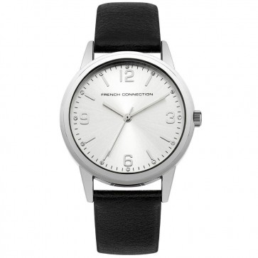 French Connection Womens Ladies Wrist Watch Black strap Silver Dial SFC108B