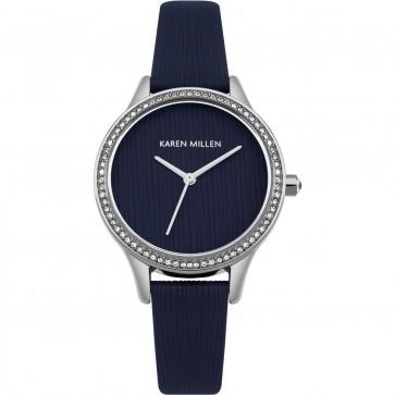 Karen Millen Womens Ladies Watch Blue Strsp Strap White Face KM165U