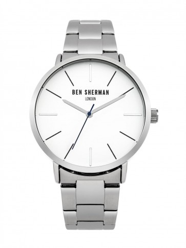 Ben Sherman Mens Gents Wrist Watch Silver Strap White Face WB054SM