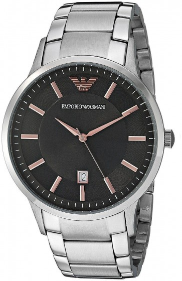 Emporio Armani Mens Watch Stainless Steel Bracelet Dark Grey Dial AR2514