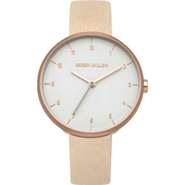Karen Millen Womens Ladies Wrist Watch Cream Strap White Face KM135CRG