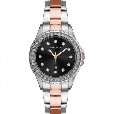 Sekonda Ladies Womens Wrist Watch Black Face Silver Gold Metal Strap 2204