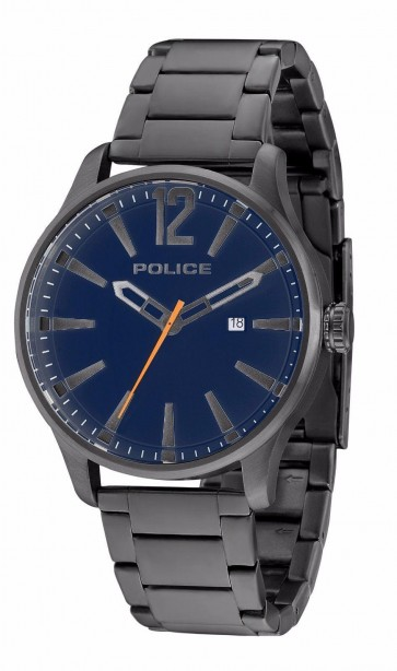 Police Dallas Mens Gents Wrist Watch Stainless Steel Blue Dial 14764JSU/03M