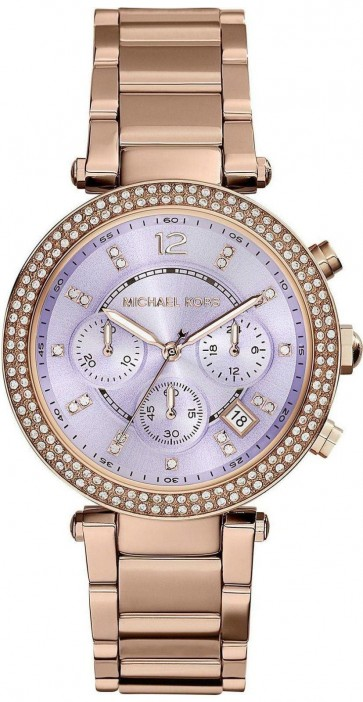 Michael Kors Parker Ladies  Chronograph Watch Rose Gold PVD Bracelet Lilac Dial MK6169
