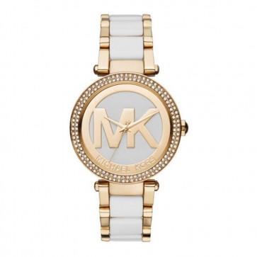 Michael Kors MK6313 Parker Gold Two Tone 39mm Case MK Logo Ladies Watch