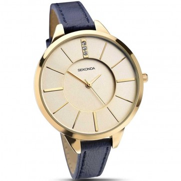 Sekonda Ladies Watch Blue Strap Gold Dial 4017