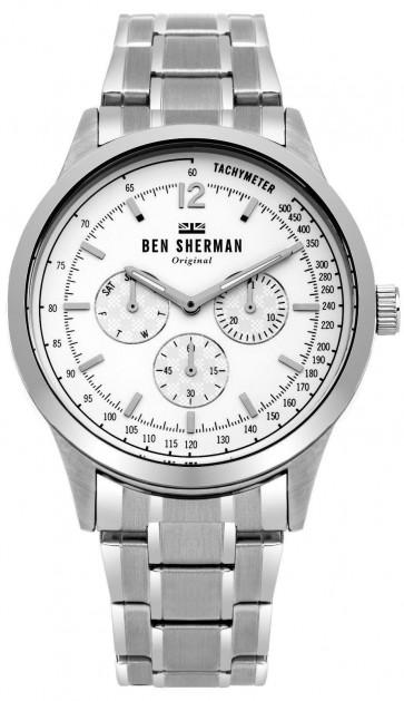 Ben Sherman Mens Spitalfields Wrist Watch Silver Stainless Steel Strap White Dial WB073SM