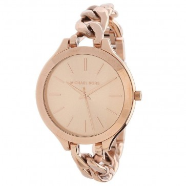 Michael Kors Ladies Runway Watch Rose Gold PVD Curb Link Bracelet MK3223