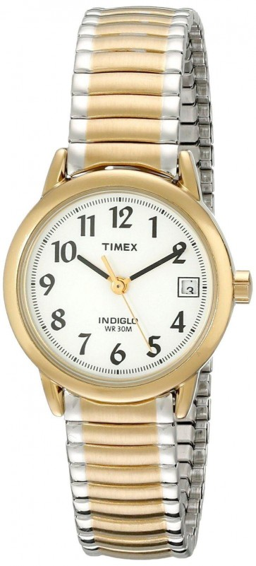 Timex Womens Ladies Quartz Watch With White Dial T2H381