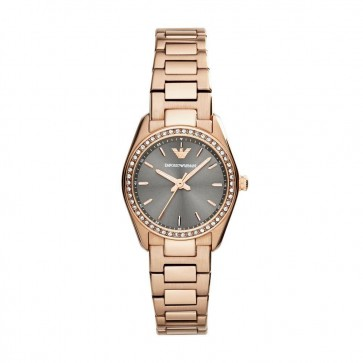 Emporio Armani Ladies Rose Gold PVD Stainless Steel Bracelet Grey Dial AR6030