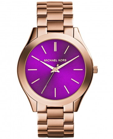 Michael Kors Thin Runway Ladies Watch Rose Gold PVD Bracelet Purple Dial MK3293