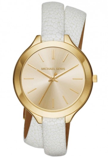 Michael Kors Ladies Slim Runray Watch Gold Plated PVD Case White Leather Wrap Around Strap Gold Dial MK2477