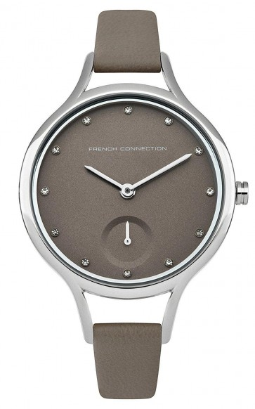 French Connection Womens Watch Grey Face Silver Dial Leather Strap FC1274E