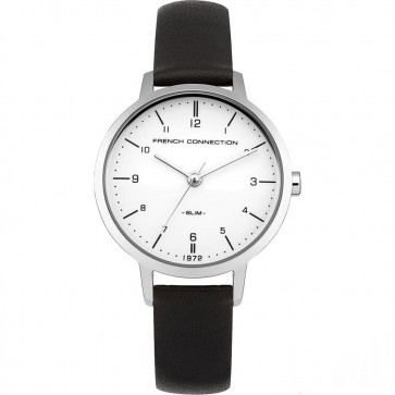 French Connection Womens Watch with Silver Dial Silver Leather Strap FC1256B