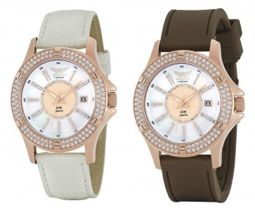 Aviator Ladies Womens Dual Quartz Strap Wrist Watch AVX4536L15