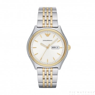 Emporio Armani Mens Gents Watch Gold Dial White Face AR11034