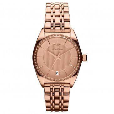 Emporio Armani Ladies Watch Rose Gold PVD Bracelet Gold Dial AR0381