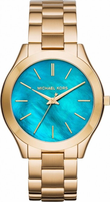 Michael Kors Womens Slim Runway Gold Stainless Steel Bracelet Watch MK3492