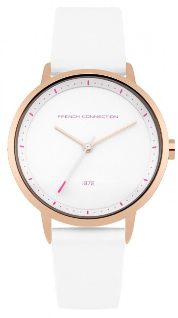 French Connection Womens Watch Gold Dial White face Silicone Strap FC1289WRG