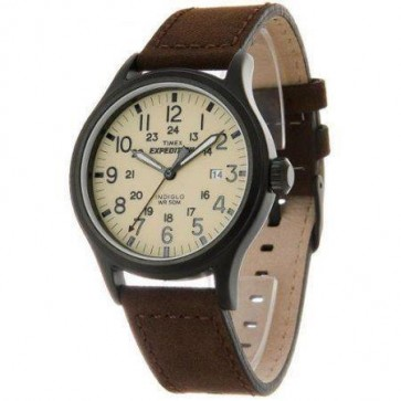 Timex Mens Indiglo Watch Brown Strap Cream Dial T49963