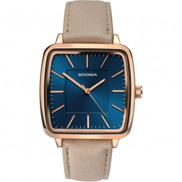 Sekonda Ladies Womens Wrist Watch Blue Face Gold Dial Leather Strap 2449