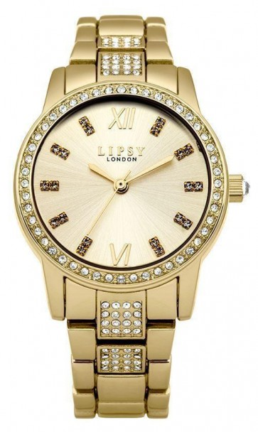 Lipsy Women's Quartz Watch with Gold Dial Analogue Display and Gold Alloy Bracelet LP463
