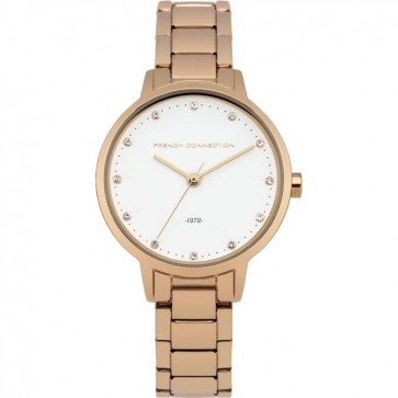 French Connection Ladies Wrist Watch Rose  Gold Strap Whiter Face FC1281RGM