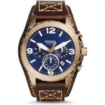 Fossil Mens Nate Chronograph Watch Brown Cuff Strap Blue Dial JR1505