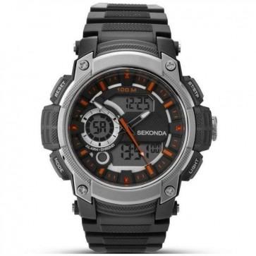 Sekonda Mens Gents LCD Wrist Watch Grey Dial Black Strap 1160