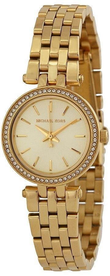 Michael Kors Ladies Mini Darci Watch Gold Bracelet Gold Dial MK3295