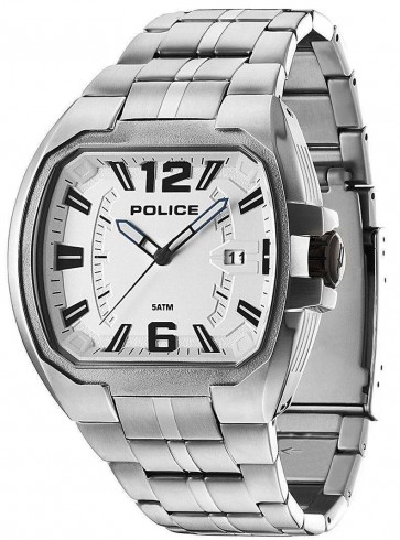 Police Patriot Mens Watch Stainless Steel Bracelet White Dial 14192JS/04M
