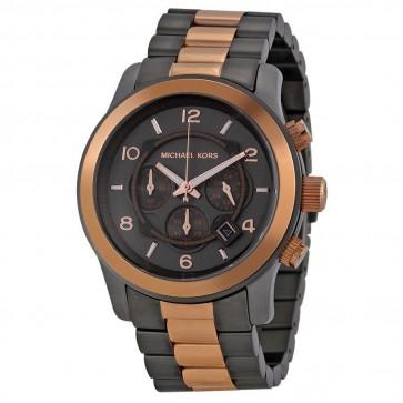 Michael Kors Mens Gents Runway Chronograph Watch Gun Metal Bracelet Black MK8189