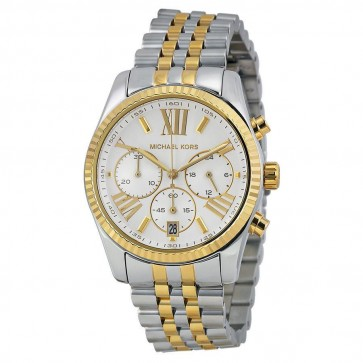 Michael Kors Lexington Ladies Chronograph Watch Two Tone Stainless Steel Bracelet White Dial  MK5955