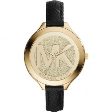 Michael Kors Slim Runway Ladies Watch Champagne Gold Dial Black Leather MK2392