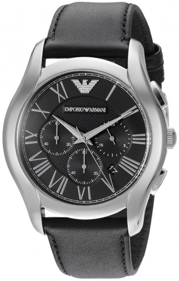 Emporio Armani Mens Chronograph Watch Black Leather Strap Black Dial AR1700