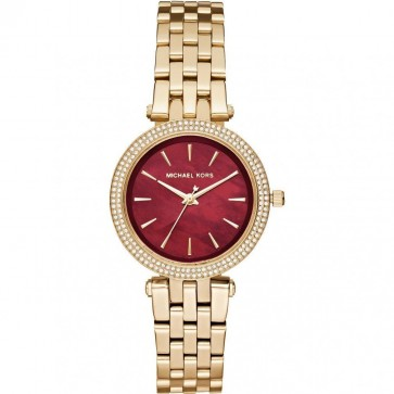 Michael Kors Ladies Mini Darci Wrist Watch Gold Strap Red Face MK3583